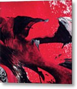 Hope - Red Black And White Abstract Art Painting Metal Print