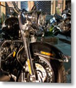 Horizontal Front View Of Fat Cruiser Motorcycle With Chrome Fork Metal Print
