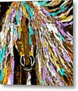 Horse Abstract Brown And Blue Metal Print
