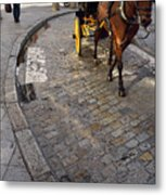 Horse And Carriage On Cobblestoned Alvarez Quintero Street In Th Metal Print