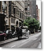 Horse And Chariot In Downtown Saint Louis Metal Print