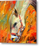 Horse And Grass Metal Print