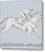 Horse And Jockey Metal Print