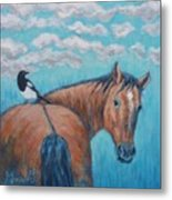 Horse And Magpie Metal Print