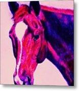 Horse Art Horse Portrait Maduro Deep Pink Metal Print