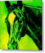 Horse Art Horse Portrait Maduro Green Black And Yellow Metal Print