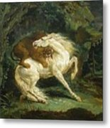 Horse Attacked By A Lion Metal Print