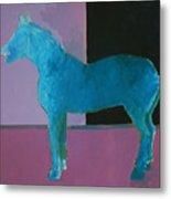 Horse, Blue On Lavender Metal Print