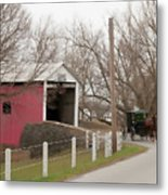 Horse Buggy And Covered Bridge Metal Print