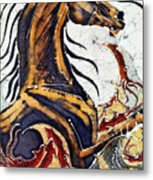 Horse Dances In Sea With Squid Metal Print