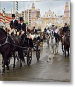 Horse Drawn Carriages And Women On Horseback Riding Sidesaddle O Metal Print