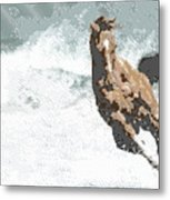 Horse In The Storm - Parallel Hatching Metal Print