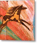 Horse Jumping Over Colors Metal Print