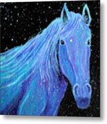 Horse-midnight Snow Metal Print