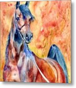 Horse On The Orange Background Metal Print