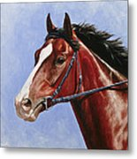 Horse Painting - Determination Metal Print