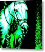 Horse Painting Jumper No Faults Black Blue And Green Metal Print