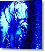 Horse Painting Jumper No Faults Blue Metal Print