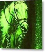 Horse Painting Jumper No Faults Deep Greens Metal Print