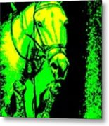 Horse Painting Jumper No Faults Green And Yellow Metal Print