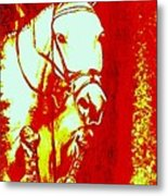 Horse Painting Jumper No Faults Red And White Metal Print