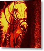 Horse Painting Jumper No Faults Reds Metal Print
