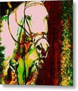 Horse Painting Jumper No Faults Reds Greens Metal Print