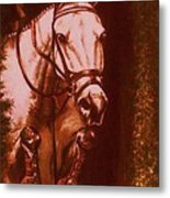 Horse Painting Jumper No Faults Soft Browns Metal Print