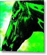 horse portrait PRINCETON green and black Metal Print