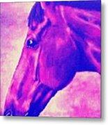 horse portrait PRINCETON pink Metal Print