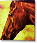 horse portrait PRINCETON purple brown yellow Metal Print