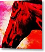 horse portrait PRINCETON red hot Metal Print