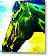 horse portrait PRINCETON vibrant yellow and blue Metal Print