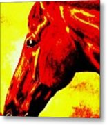 horse portrait PRINCETON yellow and red Metal Print