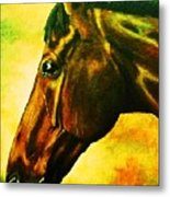 horse portrait PRINCETON yellow Metal Print