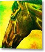 horse portrait PRINCETON yellow green Metal Print