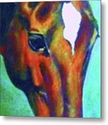 horse portrait RED psychedelic Metal Print