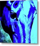 horse portrait RED wow blue Metal Print