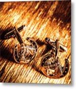 Horse Racing Cuff Links Metal Print