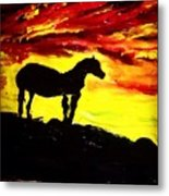 Horse Rider In The Sunset Metal Print