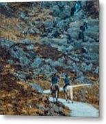 Horse Riders At Mahon Falls Metal Print