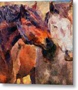 Horse Snuggle Metal Print