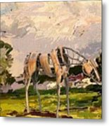 Horse Statue In The Field Metal Print