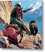 Horseman And Bear Metal Print by H G Edwards