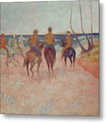 Horseman On The Beach Metal Print