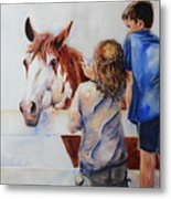 Horses And Children Painting Metal Print