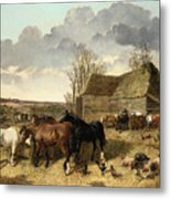 Horses Eating From A Manger, With Pigs And Chickens In A Farmyard Metal Print
