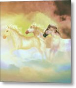 Horses In A Pearly Mist Metal Print