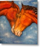 Horses In Love.oil Painting Metal Print