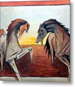 Horses In The Field Metal Print